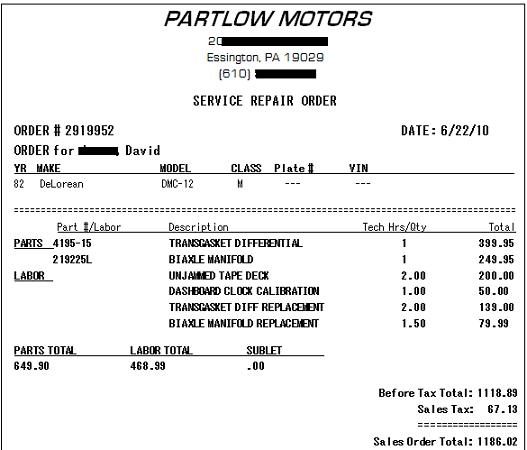 Emails From An Asshole - Fake car repair invoice